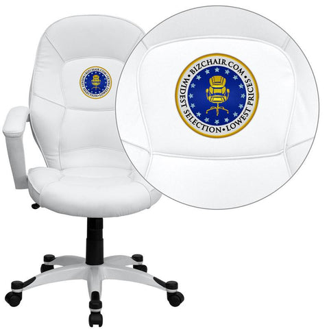 Flash Furniture QD-5058M-WHITE-EMB-GG Embroidered Mid-Back White Leather Executive Office Chair - Peazz Furniture