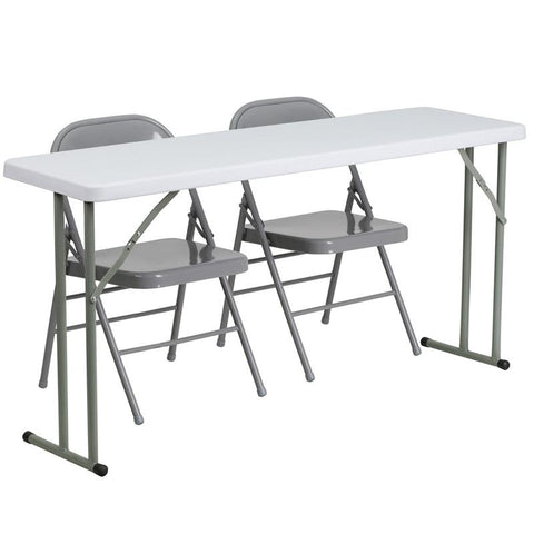 Flash Furniture RB-1860-1-GG 18'' x 60'' Plastic Folding Training Table with 2 Gray Metal Folding Chairs - Peazz Furniture
