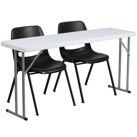 Flash Furniture RB-1860-2-GG 18'' x 60'' Plastic Folding Training Table with 2 Black Plastic Stack Chairs - Peazz Furniture