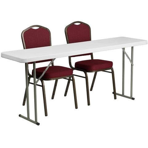 Flash Furniture RB-1872-1-GG 18'' x 72'' Plastic Folding Training Table with 2 Crown Back Stack Chairs - Peazz Furniture