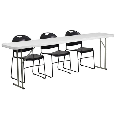 Flash Furniture RB-1896-1-GG 18'' x 96'' Plastic Folding Training Table with 3 Black Plastic Stack Chairs - Peazz Furniture