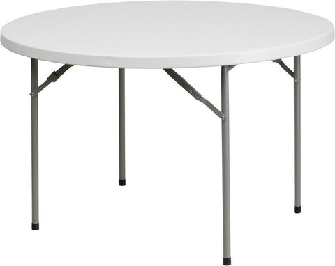 Flash Furniture RB-48R-GG 48'' Round Granite White Plastic Folding Table - Peazz Furniture