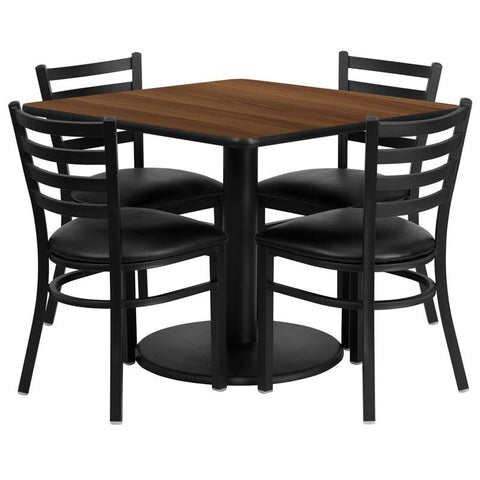 Flash Furniture RSRB1016-GG 36'' Square Walnut Laminate Table Set with 4 Ladder Back Metal Chairs - Black Vinyl Seat - Peazz Furniture