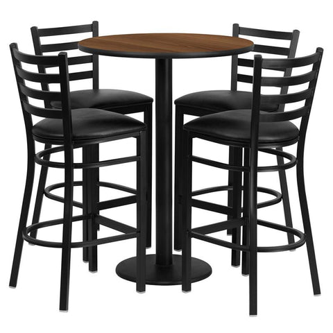 Flash Furniture RSRB1024-GG 30'' Round Walnut Laminate Table Set with 4 Ladder Back Metal Bar Stools - Black Vinyl Seat - Peazz Furniture