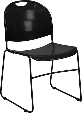 HERCULES Series 880 lb. Capacity Black High Density, Ultra Compact Stack Chair with Black Frame RUT-188-BK-GG by Flash Furniture - Peazz Furniture