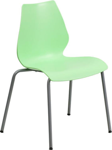 Flash Furniture RUT-288-GREEN-GG HERCULES Series 770 lb. Capacity Green Stack Chair with Lumbar Support and Silver Frame - Peazz Furniture