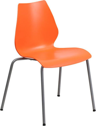 Flash Furniture RUT-288-ORANGE-GG HERCULES Series 770 lb. Capacity Orange Stack Chair with Lumbar Support and Silver Frame - Peazz Furniture