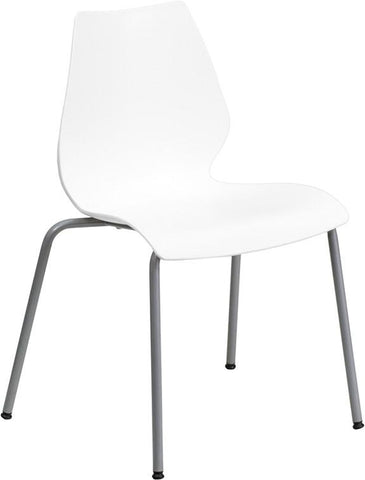 Flash Furniture RUT-288-WHITE-GG HERCULES Series 770 lb. Capacity White Stack Chair with Lumbar Support and Silver Frame - Peazz.com