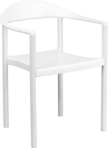 Flash Furniture RUT-418-WH-GG HERCULES Series 1000 lb. Capacity White Plastic Cafe Stack Chair - Peazz Furniture