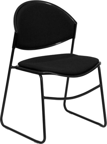 HERCULES Series 550 lb. Capacity Black Padded Stack Chair with Black Powder Coated Frame Finish RUT-CA02-01-BK-PAD-GG by Flash Furniture - Peazz Furniture