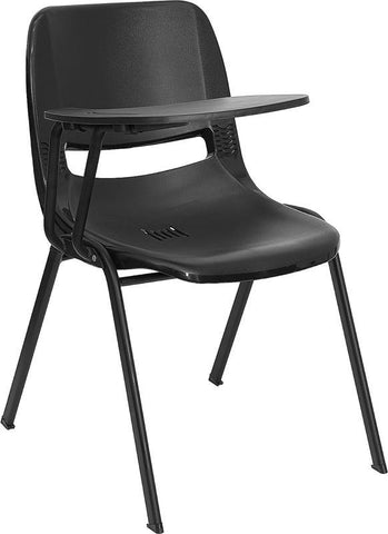 Black Ergonomic Shell Chair with Right Handed Tablet Arm RUT-EO1-BK-RTAB-GG by Flash Furniture - Peazz Furniture