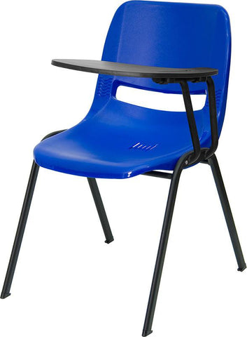 Blue Ergonomic Shell Chair with Left Handed Tablet Arm RUT-EO1-BL-LTAB-GG by Flash Furniture - Peazz Furniture