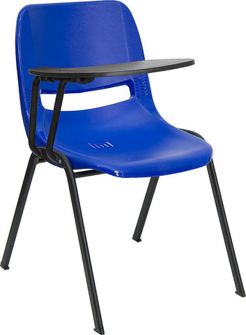 Blue Ergonomic Shell Chair with Right Handed Tablet Arm RUT-EO1-BL-RTAB-GG by Flash Furniture - Peazz Furniture