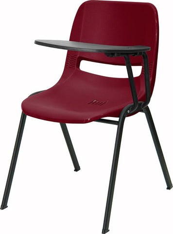 Burgundy Ergonomic Shell Chair with Left Handed Tablet Arm RUT-EO1-BY-LTAB-GG by Flash Furniture - Peazz Furniture
