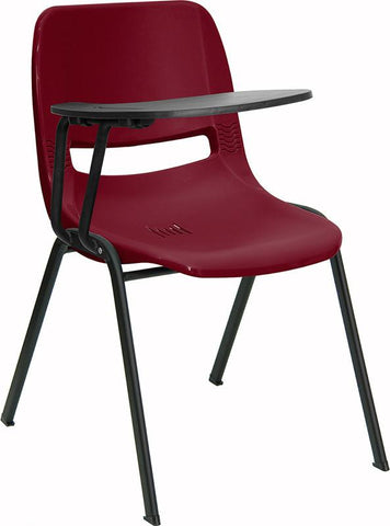 Burgundy Ergonomic Shell Chair with Right Handed Tablet Arm RUT-EO1-BY-RTAB-GG by Flash Furniture - Peazz Furniture