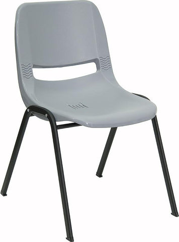 HERCULES Series 880 lb. Capacity Gray Ergonomic Shell Stack Chair RUT-EO1-GY-GG by Flash Furniture - Peazz Furniture