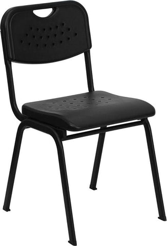 HERCULES Series 880 lb. Capacity Black Plastic Stack Chair with Black Powder Coated Frame RUT-GK01-BK-GG by Flash Furniture - Peazz Furniture