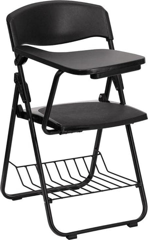 Black Plastic Chair with Right Handed Tablet Arm and Book Basket RUT-L03-TAB-RT-GG by Flash Furniture - Peazz Furniture