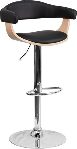 Flash Furniture SD-2178-2-GG Beech Bentwood Adjustable Height Bar Stool with Black Vinyl Upholstery - Peazz Furniture