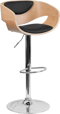 Flash Furniture SD-2200-GG Beech Bentwood Adjustable Height Bar Stool with Black Vinyl Upholstery - Peazz Furniture