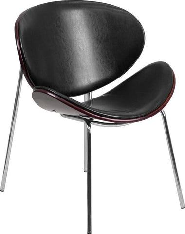 Flash Furniture SD-2268A-7-GG Mahogany Bentwood Leisure Reception Chair with Black Leather Upholstery - Peazz Furniture