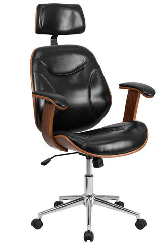 Flash Furniture SD-SDM-2235-5-BK-HR-GG High Back Black Leather Executive Wood Office Chair - Peazz Furniture