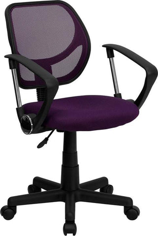 Mid-Back Purple Mesh Task Chair and Computer Chair with Arms WA-3074-PUR-A-GG by Flash Furniture - Peazz Furniture