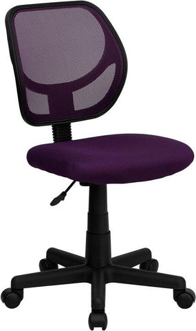 Mid-Back Purple Mesh Task Chair and Computer Chair WA-3074-PUR-GG by Flash Furniture - Peazz Furniture