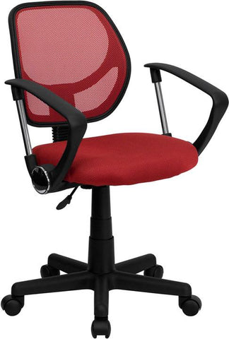 Mid-Back Red Mesh Task Chair and Computer Chair with Arms WA-3074-RD-A-GG by Flash Furniture - Peazz Furniture