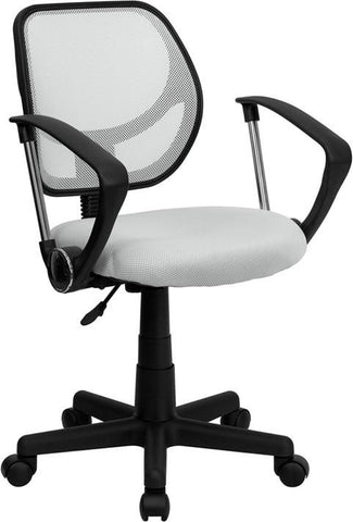 Mid-Back White Mesh Task Chair and Computer Chair with Arms WA-3074-WHT-A-GG by Flash Furniture - Peazz Furniture