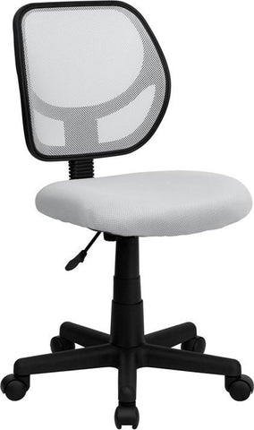 Mid-Back White Mesh Task Chair and Computer Chair WA-3074-WHT-GG by Flash Furniture - Peazz Furniture