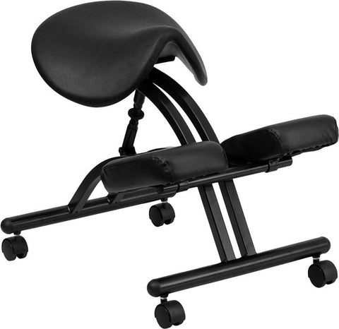 Flash Furniture WL-1421-GG Ergonomic Kneeling Chair with Black Saddle Seat - Peazz Furniture