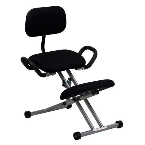 Ergonomic Kneeling Chair with Handles in Black WL-3439-GG by Flash Furniture - Peazz Furniture