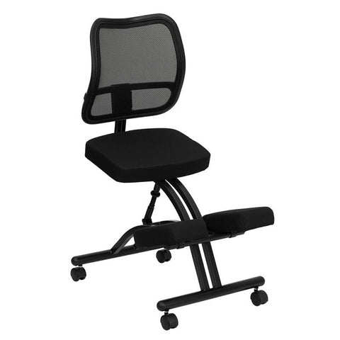 Black Ergonomic Kneeling Office Chair with Black Mesh Back WL-3520-GG by Flash Furniture - Peazz Furniture