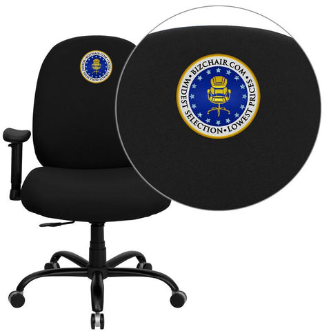 Flash Furniture WL-715MG-BK-A-EMB-GG Embroidered HERCULES Series 400 lb. Capacity Big and Tall Black Fabric Office Chair with Arms and Extra WIDE Seat - Peazz Furniture