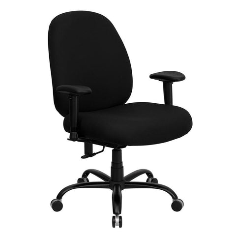 HERCULES Series 400 lb. Capacity Big and Tall Black Fabric Office Chair with Arms and Extra WIDE Seat WL-715MG-BK-A-GG by Flash Furniture - Peazz Furniture