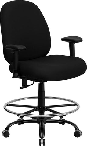 Flash Furniture WL-715MG-BK-AD-GG HERCULES Series 400 lb. Capacity Big and Tall Black Fabric Drafting Stool with Arms and Extra WIDE Seat - Peazz Furniture