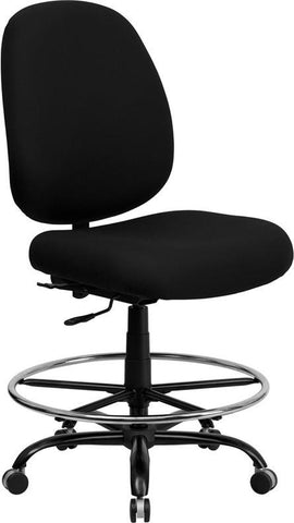 Flash Furniture WL-715MG-BK-D-GG HERCULES Series 400 lb. Capacity Big and Tall Black Fabric Drafting Stool with Extra WIDE Seat - Peazz Furniture