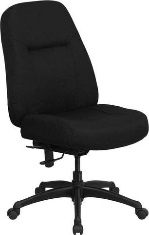 HERCULES Series 400 lb. Capacity High Back Big & Tall Black Fabric Office Chair with Extra WIDE Seat WL-726MG-BK-GG by Flash Furniture - Peazz Furniture