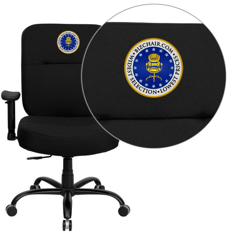 Flash Furniture WL-735SYG-BK-A-EMB-GG Embroidered HERCULES Series 400 lb. Capacity Big & Tall Black Fabric Office Chair with Arms and Extra WIDE Seat - Peazz Furniture