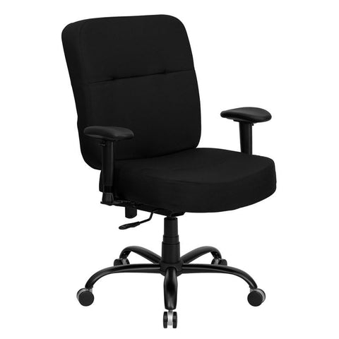 HERCULES Series 400 lb. Capacity Big & Tall Black Fabric Office Chair with Arms and Extra WIDE Seat WL-735SYG-BK-A-GG by Flash Furniture - Peazz Furniture