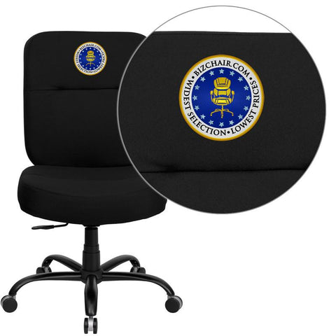 Flash Furniture WL-735SYG-BK-EMB-GG Embroidered HERCULES Series 400 lb. Capacity Big & Tall Black Fabric Office Task Chair with Extra WIDE Seat - Peazz Furniture
