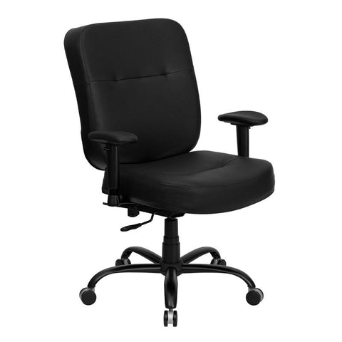 HERCULES Series 400 lb. Capacity Big and Tall Black Leather Office Chair with Arms and Extra WIDE Seat WL-735SYG-BK-LEA-A-GG by Flash Furniture - Peazz Furniture