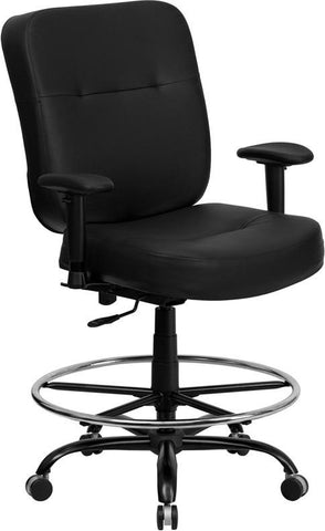 Flash Furniture WL-735SYG-BK-LEA-AD-GG HERCULES Series 400 lb. Capacity Big & Tall Black Leather Drafting Stool with Arms and Extra WIDE Seat - Peazz Furniture