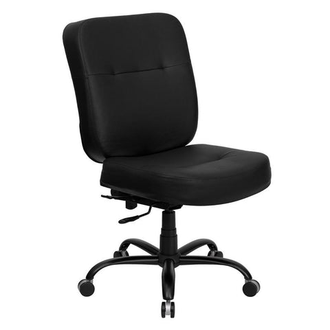 HERCULES Series 400 lb. Capacity Big & Tall Black Leather Office Chair with Extra WIDE Seat WL-735SYG-BK-LEA-GG by Flash Furniture - Peazz Furniture