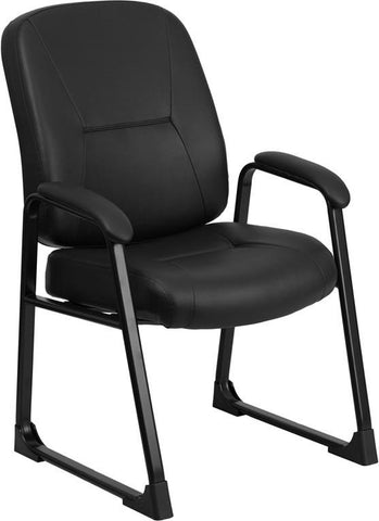 Flash Furniture WL-738AV-LEA-GG HERCULES Series Big & Tall 400 lb. Capacity Black Leather Executive Side Chair with Sled Base - Peazz Furniture