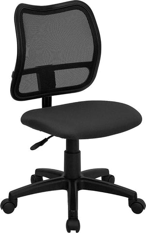 Mid-Back Mesh Task Chair with Gray Fabric Seat WL-A277-GY-GG by Flash Furniture - Peazz Furniture