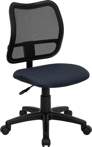 Mid-Back Mesh Task Chair with Navy Blue Fabric Seat WL-A277-NVY-GG by Flash Furniture - Peazz Furniture