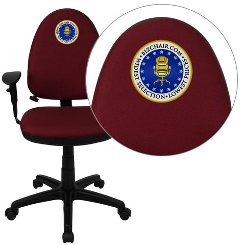 Flash Furniture WL-A654MG-BY-A-EMB-GG Embroidered Mid-Back Burgundy Fabric Multi-Functional Task Chair with Arms and Adjustable Lumbar Support - Peazz Furniture