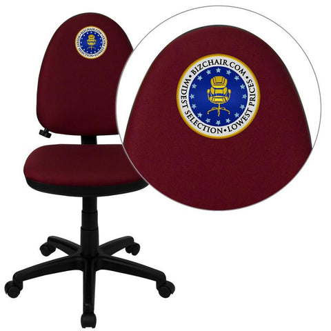 Flash Furniture WL-A654MG-BY-EMB-GG Embroidered Mid-Back Burgundy Fabric Multi-Functional Task Chair with Adjustable Lumbar Support - Peazz Furniture
